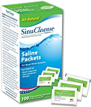 SinuCleanse Pre-Mixed Saline Packets - 100 Count- All-Natural, Pharmaceutical Grade, Buffered Salt Mix for Nasal Wash Systems
