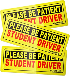 POSHINE Set of 3 Student Driver Magnet, Reflective Vehicle Sign Magnetic Bumper Sticker for New Driver