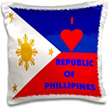 3dRose pc_55214_1 I Love The Philippines-Pillow Case, 16 by 16