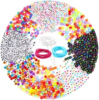 PP OPOUNT 1200 Pieces 6 Styles Letter Beads Acrylic Alphabet A-Z Cubeand 2 Styles Round Beads with 3 Roll Elastic String Cord and 1 Piece Beading Needles for Necklace, Bracelet, Jewelry Making