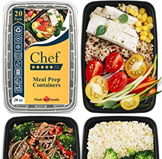[20 Pack] Five-Star Chef 28 Oz. Leak-resistant Food Containers for Meal Prep. Safe, convenient, reliable. Made in Canada.