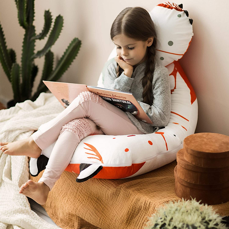 Oreiller Confort Enfant 4-12 Ans Ergonomique U-Forme Oreiller Renard Oreiller pour Junior Fabriqu/é en Europe