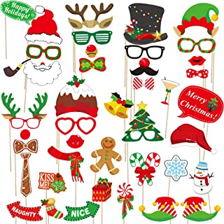 dizaul 2019 Christmas Photo Booth Props – 42 Pack DIY Xmas Photography Decorations - Funny Selfie and Photo Prop Pack for Christmas and New Year Party – Winter Holidays Supplies for Kids and Adults