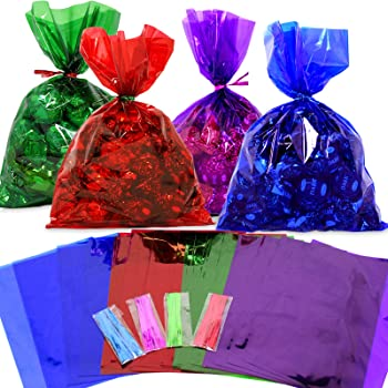 LARGE CELLOPHANE CONE BAGS PARTY BAGS GIFTS RED POLKA DOT SWEETS
