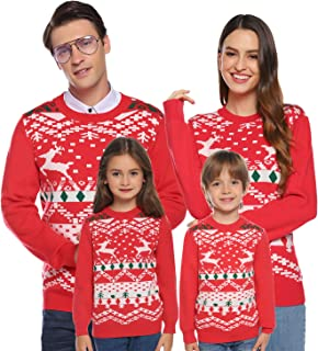 Christmas Sweater for Family Matching Ugly Christmas Reindeer Knitted Sweater Pullover Women/Men/Boys/Girls