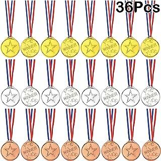 FEPITO 36 Stks Winnaar Medailles Kids Plastic Gouden Medailles Zilveren Medailles en Bronzen Medailles voor Kids Party Fav...