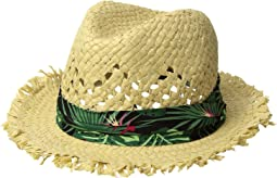 San Diego Hat Company Kids Frayed Edge Fedora w/ Tropical Band (Little Kids/Big Kids)