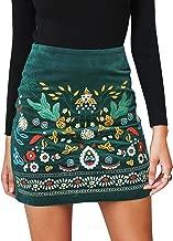 BerryGo Women's High Waist Embroidered Mini Skirt Boho Floral Pencil Skirt