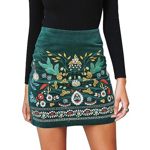 3b4e8edf63d4 BerryGo Women's High Waist Embroidered Mini Skirt Boho Floral Pencil Skirt