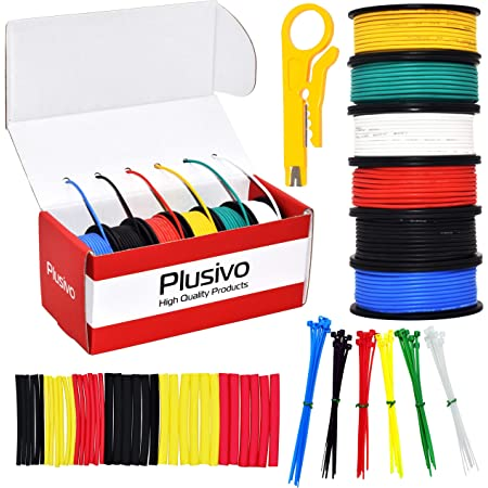 24 Gauge Wire - 6 Colors Tinned Copper Wires with Silicone Rubber Insulation (Black, Red, Yellow, Green, Blue, White) 30ft / 9m Each - 24 AWG Stranded Hook Up Wires from Plusivo