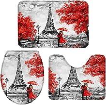 3 Pieces Bath Rug Set Toilet Seat Cover Embrace Paris Eiffel Tower Red Maple Print Contour Rug, Pedestal Mat and Toilet Li...