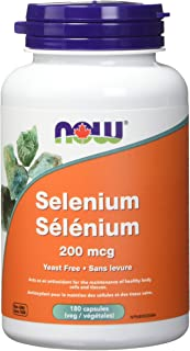 NOW Selenium 200mcg (Yeast Free) 180 Veg Capsules, 180 g