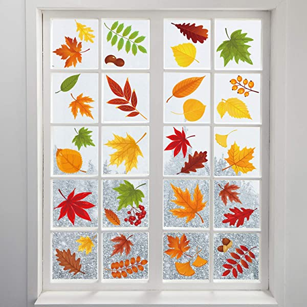 Adoreu Fall Leaves Window Clings Autumn Thanksgiving Acorns Window Sticker Harvest Maple Decorations Autumn Decals Party Decor Ornaments 8 Sheets
