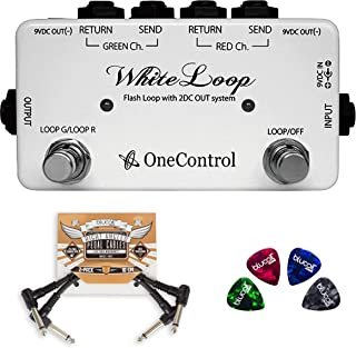 One Control White Loop Pedal Effects Switcher Bundle with 2-Pack of Blucoil Pedal Patch Cables and 4-Pack of Celluloid Guitar Picks
