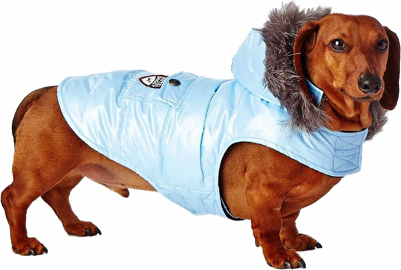 Hotel Doggy F15267BPXLB Shiny Parka, bluee Snow, XLarge