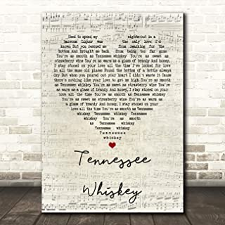 Tennessee Whiskey Script Heart Song Lyric Quote Wall Art Gift Print