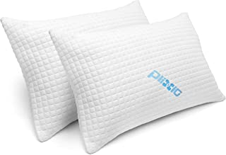 2 Pack Shredded Memory Foam Bed Pillows for Sleeping - Bamboo Cooling Hypoallergenic Sleep Pillow for Back and Side Sleepe...