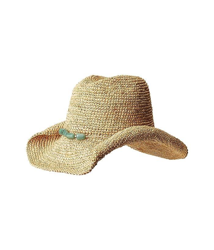 San Diego Hat Company Rhc1074 Crochet Raffia Cowboy W Turqoise Bead Trim