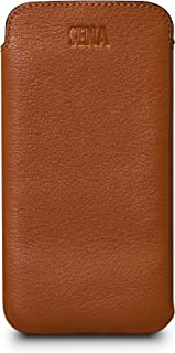 Sena UltraSlim Leather Sleeve Cell Phone Case for Samsung Galaxy S9, S10 Plus - Wirless Charging Compatible, Tan
