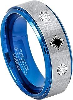 3-Stone Princess Cut Black Diamond & Round Diamonds Tungsten Ring - 8MM Comfort Fit 2-Tone Blue IP Tungsten Carbide Wedding Band - April Birthstone Ring