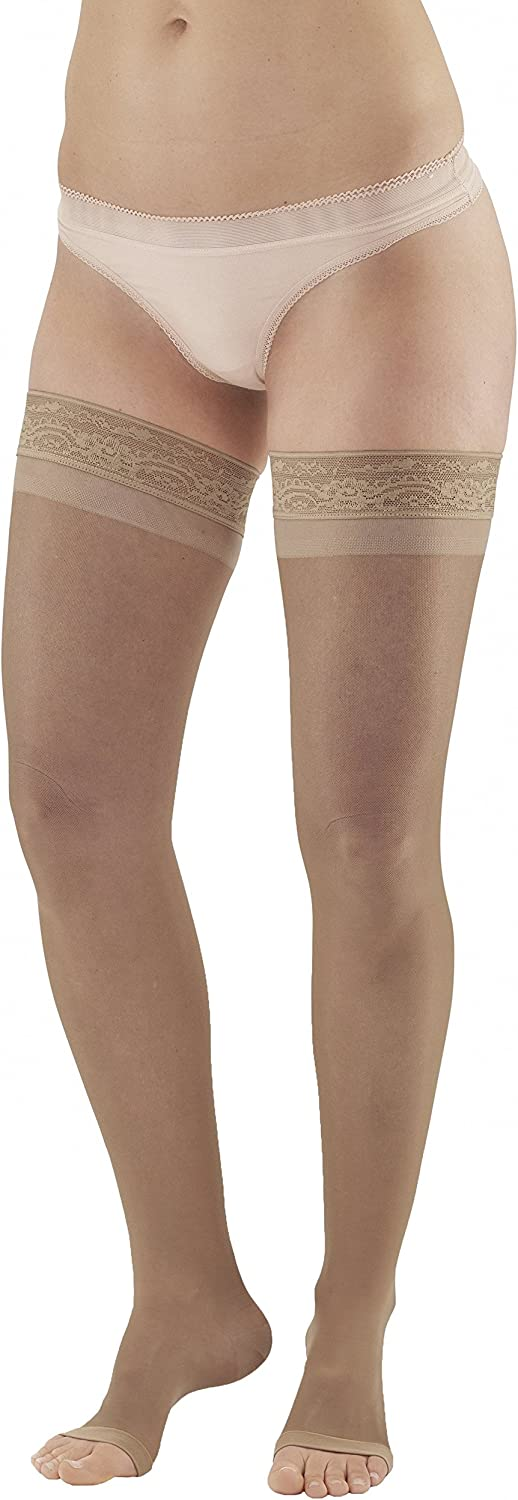 Ames Walker AW Style 45 Sheer Support 15 20mmHg OT Thigh Highs w/Band Nude