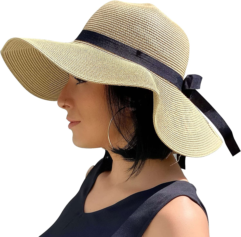 Sowift Women's Beach Sun 2021 Straw Hat Folda Max 70% OFF UV Protection Wide Brim
