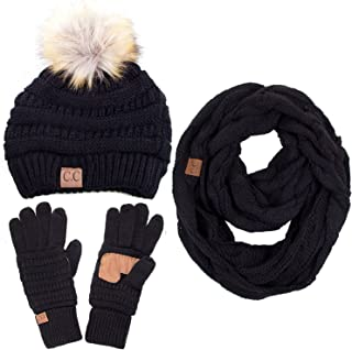 3pc Set Trendy Warm Chunky Soft Stretch Cable Knit Pom Pom Beanie, Scarves and Gloves Set