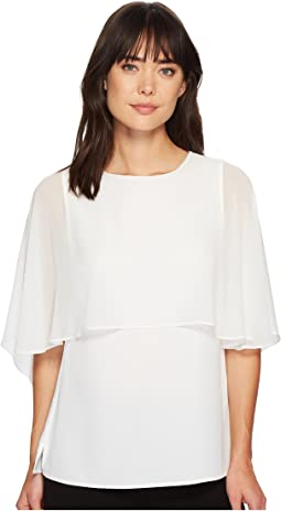 Calvin Klein Short Sleeve Ruffle Blouse
