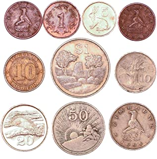 10 Zimbabwe Coins 1 Cent - 1 Dollar. Coins Collection from Africa, Since 1980. Perfect Choice for Your Coin Bank, Coin Holders and Coin Album
