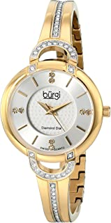Burgi Women's BUR105 Swiss Quartz Watch with Silver Dial and Silver Crystal Accented Bracelet