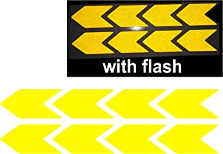 Chevron Yellow Reflective Sticker Decal Arrow 8x 3M High Quality 25x50 mm Sign With Flash Night PVC Vinyl Sport Motorbike Helmet Motorcycle Bike Racing Car Badge Door Window Tailgate Truck Trunk Side Rear Emblem
