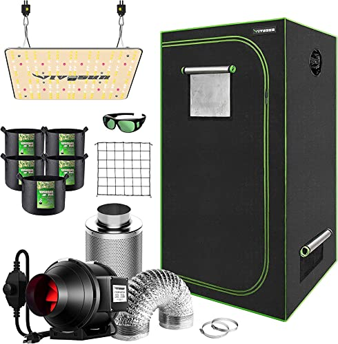 """popular VIVOSUN 24""""x24""""x48"""" Mylar Hydroponic Grow Tent Complete Kit with 4 Inch 190 CFM Inline Duct Fan Package, VS1000 LED Grow online sale Light, Glasses, Grow Bags, discount Trellis Netting online"""