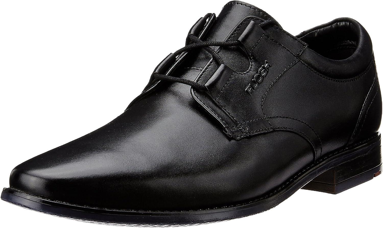 Ruosh Men's Black Leather Formal shoes - 7 UK India (40 EU)