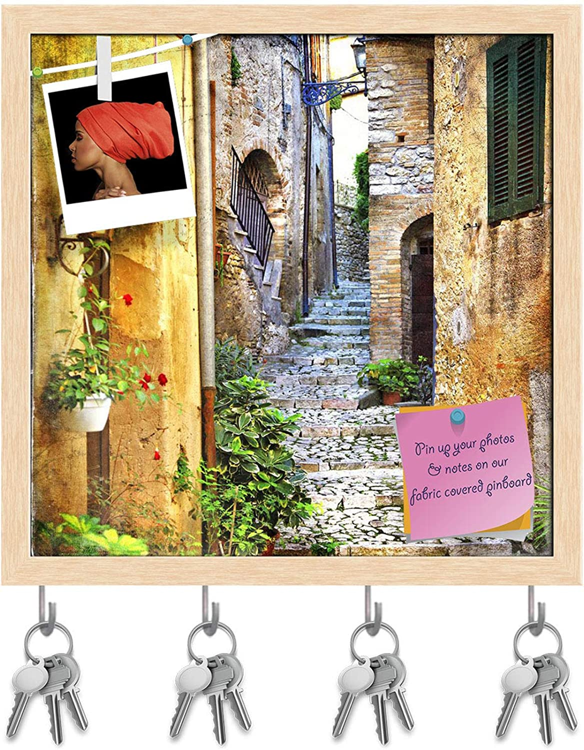Artzfolio Charming Old Streets of Italian Villages Key Holder Hooks   Notice Pin Board   Natural Brown Frame 20 X 20Inch
