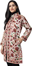 The MadhuSudan Gallery Women's Kashmiri Silk Coat Jacket Crewel Hand Embroidered Chinar Work (PA-26, Off White, Free Size)