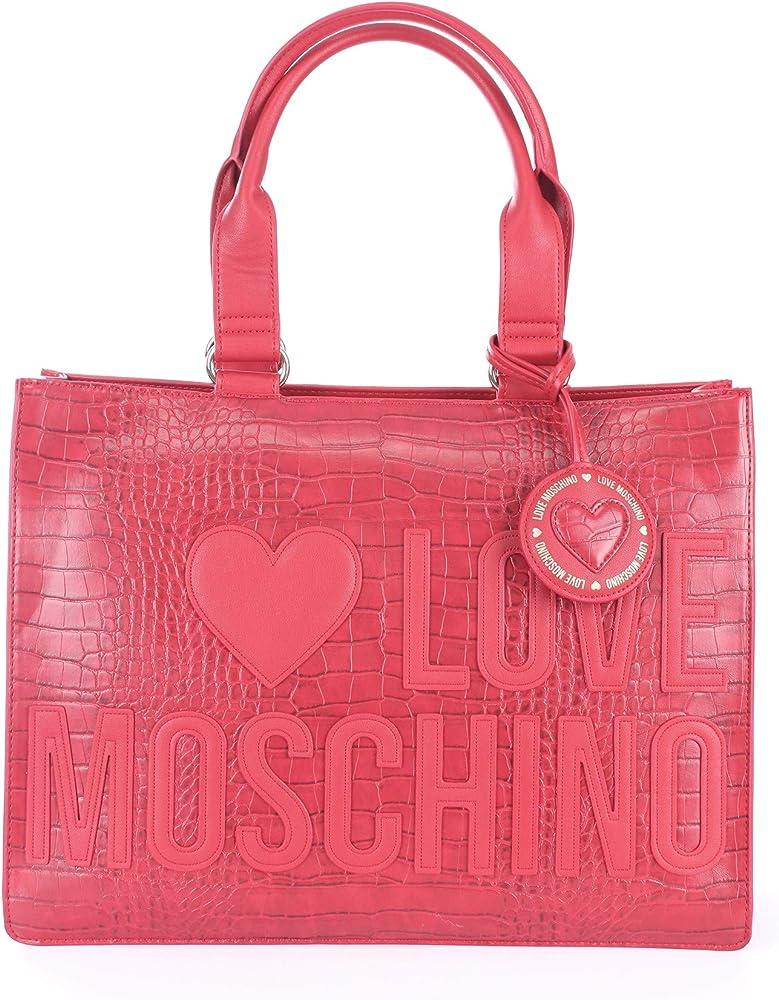 Love moschino borsa effetto coccodrillo in pelle sintetica per donna JC4056PP1BLH1