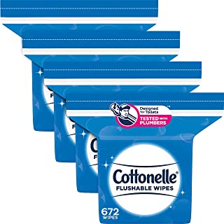 Cottonelle FreshFeel Flushable Wet Wipes, 4 Refill Packs, 168 Wipes per Pack (672 Wipes Total)