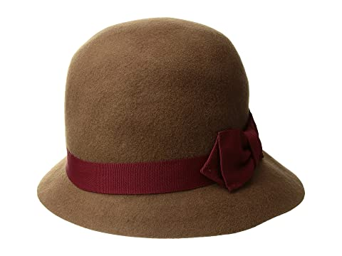 Women's Vintage Hats | Old Fashioned Hats | Retro Hats SCALA Wool Felt Cloche w Ribbon Pecan Caps $45.00 AT vintagedancer.com