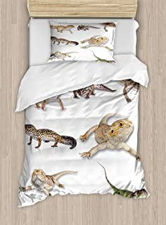 Twin XL Extra Long Bedding Set,Reptile Duvet Cover Set,Colorful Staring Leopard Gecko Family Image Primitive Reptiles Wildlife Art Print,Include 1 Flat Sheet 1 Duvet Cover and 2 Pillow Cases
