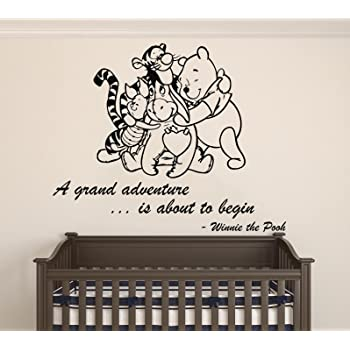 Amazon Com Winnie Pooh Friends A Grand Adventure Is About To Begin Quote Baby Room Wall Decal Decal For Baby S Room Wide 22 X 18 Height Kitchen Dining