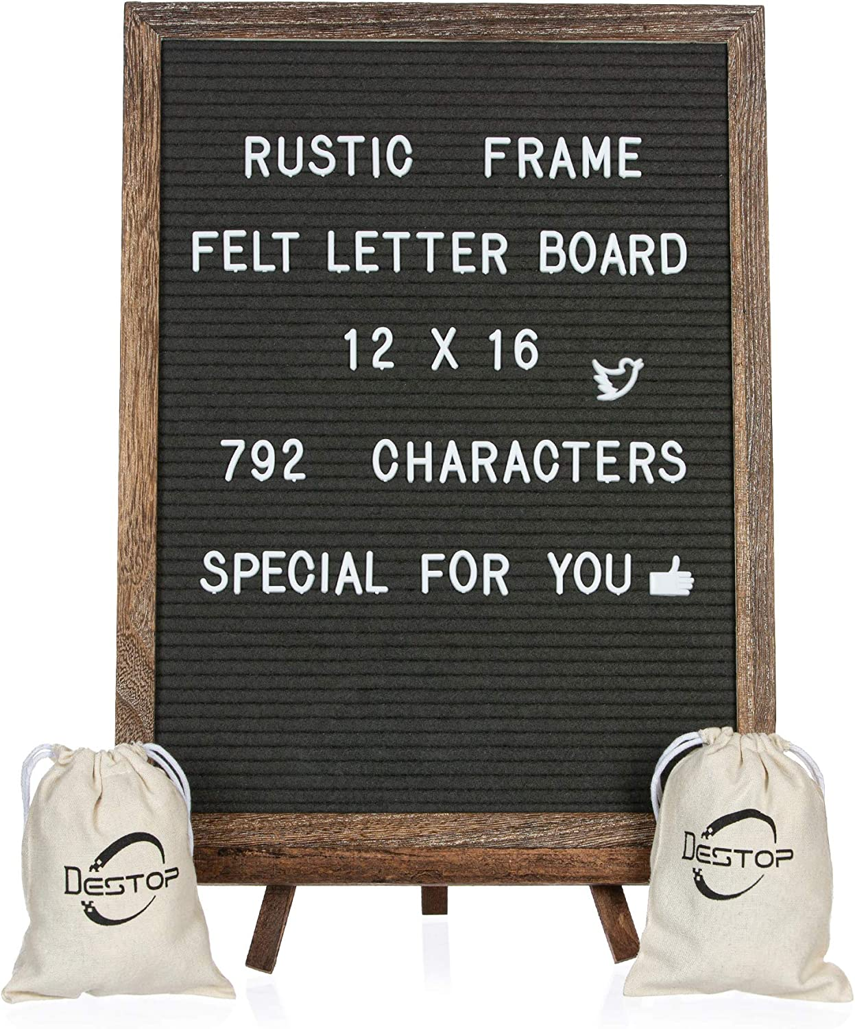 Felt Letter Board with Rustic Vintage Frame and Stand 12x16 inch, Dark Grey Changeable Letter and Message Board Includes 792 Letters, Numbers and Symbols, Hook to Hang, 2 Canvas Bags: Office Products