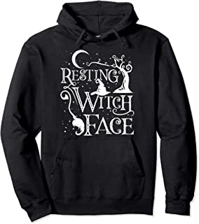 Women Girls Funny Halloween Resting Witch Face Pullover Hoodie