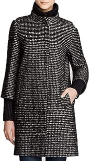 CINZIA Rocca Wool Silk Tweed Coat Knit Trim Black Houndstooth