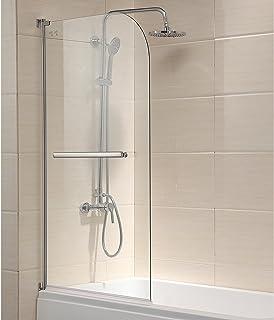 "Mecor Shower Door, 55""X31"" Glass Enclosure Hinged Bathtub Door Frameless 1/4"" Clear Glass Over 180° Pivot Radius Chrome Finish"