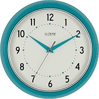La Crosse Technology 404-2624T La Crosse 9.5 Inch Round Teal Blue Retro Diner Analog Wall Clock