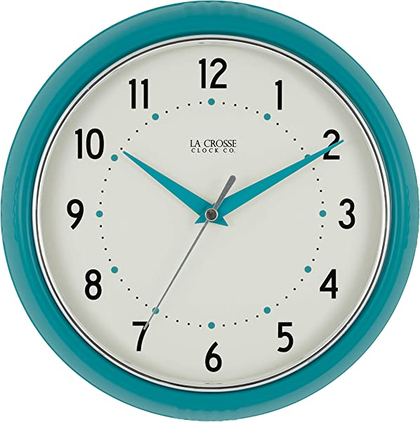 La Crosse Technology 404 2624T La Crosse 9 5 Inch Round Teal Blue Retro Diner Analog Wall Clock