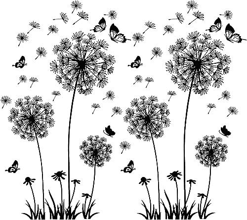 2 pièces stickers muraux noirs pissenlits pour la décoration murale, XXL grandes fleurs de pissenlit plantes autocoll...