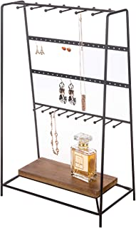 MyGift 4-Tier Modern Black Metal Tabletop Jewelry Organizer with Wood Base