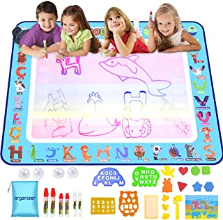 Miserwe Large Doodle Mat Water Writing Doodle Drawing Mat Neon Colors Board with Drawing Accessories for Kids Toys Toddlers Educational Girls Boys