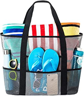 Mesh Beach Bag - Toy Tote Bag - Large Lightweight Market, Grocery & Picnic Tote with Oversized Pockets